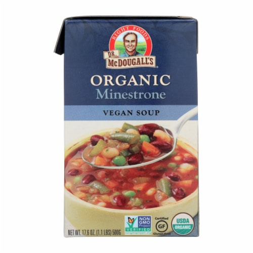 Dr. McDougall's Organic Minestrone Soup - Case of 6 - 17.6 oz. Perspective: front
