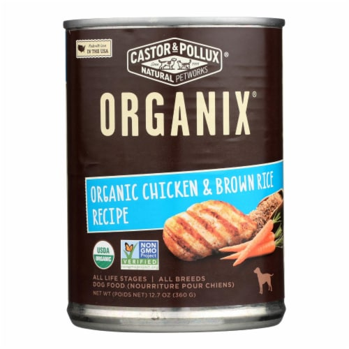 Castor and Pollux Organic Dog Food - Chicken and Brown Rice - Case of 12 - 12.7 oz. Perspective: front
