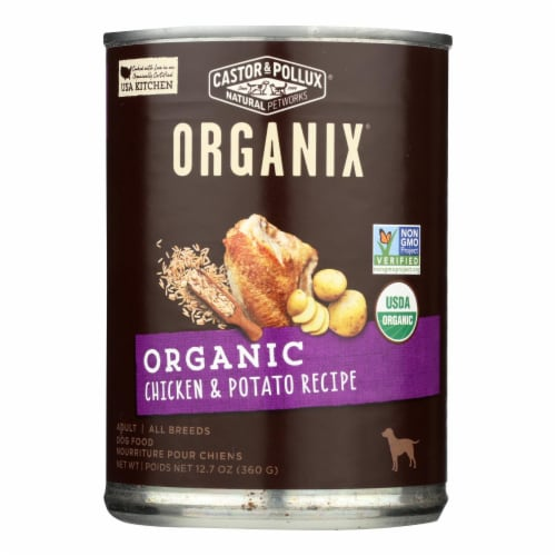 Castor and Pollux Organic Dog Food - Chicken and Potatoes - Case of 12 - 12.7 oz. Perspective: front