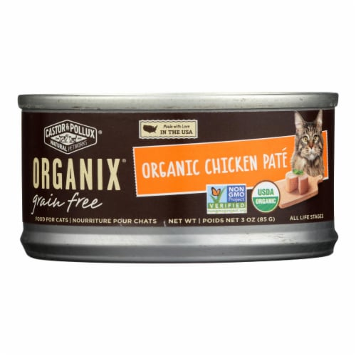 Castor and Pollux Organic Cat Food - Chicken Pate - Case of 24 - 3 oz. Perspective: front
