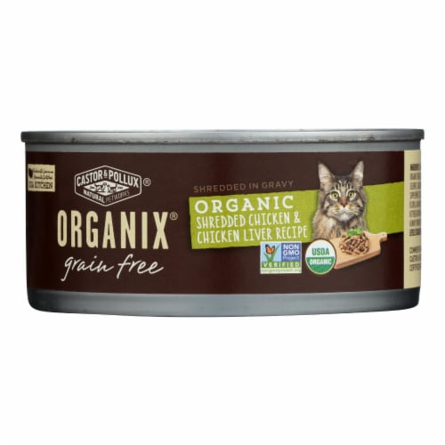 Castor and Pollux Organic Cat Food - Chicken and Liver - Case of 24 - 5.5 oz. Perspective: front