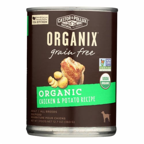 Castor and Pollux Organic Grain Free Dog Food - Chicken and Potato - Case of 12 - 12.7 oz. Perspective: front
