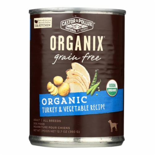 Castor and Pollux Organic Grain Free Dog Food - Turkey and Vegetables - Case of 12 - 12.7 oz. Perspective: front