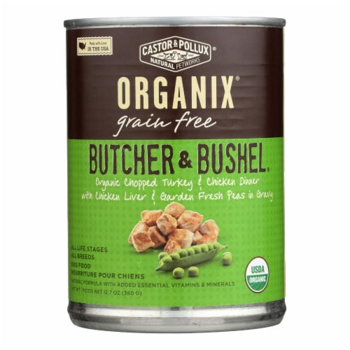 Castor and Pollux Organic Adult Dog Food - Chopped Turkey and Chicken - Case of 12 - 12.7 oz. Perspective: front