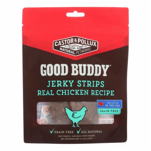Castor and Pollux Good Buddy Jerky Strips Dog Treats - Real Chicken Recipe-Case of 6 - 4.5oz Perspective: front