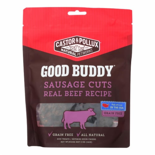 Castor and Pollux Good Buddy Sausage Cuts Dog Treats - Real Beef - Case of 6 - 5 oz. Perspective: front