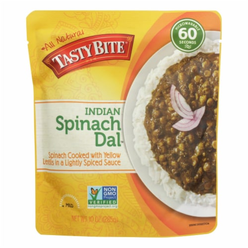 Tasty Bite Entree - Indian Cuisine - Spinach Dal - Indian - 10 oz - case of 6 Perspective: front