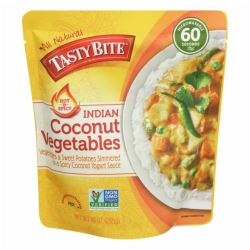 Tasty Bite Heat & Eat Indian Cuisine Entire Hot & Spicy Coconut Vegetables-Case of 6 - 10 oz Perspective: front