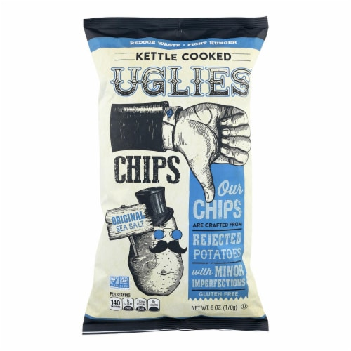 Uglies Kettle Cooked Potato Chips Orginal Sea Salt Gluten Free, 6oz (Pack of 12) Perspective: front