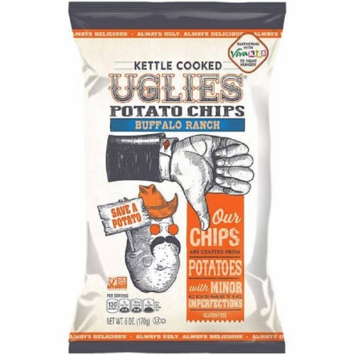 Uglies Kettle Cooked Potato Chips Buffalo Ranch Gluten Free, 6oz (Pack of 12) Perspective: front