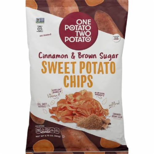One Potato Two Potato Cinnamon & Brown Sugar Sweet Potato Chips  5.75oz (Pack of 12) Perspective: front