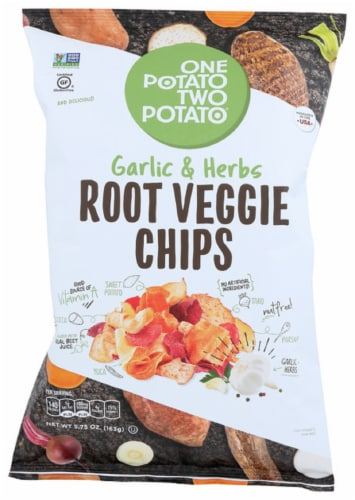 One Potato Two Potato Garlic & Herbs Root Veggie Chips  Gluten Free, 5.75oz (Pack of 12) Perspective: front