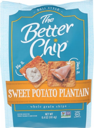 The Better Chip Sweet Potato Plantain Whole Grain Chips Non GMO, 6.4oz (Pack of 2) Perspective: front