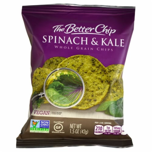 The Better Chip Spinach and Kale with Sea Salt Tortilla Chips, 1.5 Ounce -- 27 per case. Perspective: front