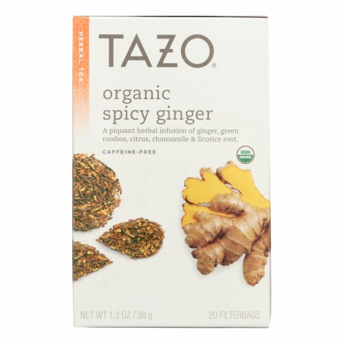 Tazo Tea Organic Tea - Hot & Spicy Ginger - Case of 6 - 20 BAG Perspective: front