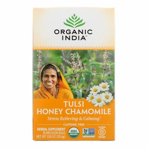 Organic India Tulsi Tea Honey Chamomile - 18 Tea Bags - Case of 6 Perspective: front