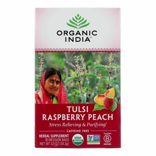 Organic India Tulsi Tea Raspberry Peach - 18 Tea Bags - Case of 6 Perspective: front