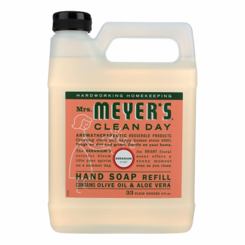 Mrs. Meyer's Clean Day - Liquid Hand Soap Refill - Geranium - Case of 6 - 33 fl oz. Perspective: front