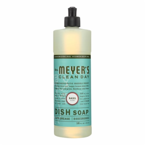 Mrs. Meyer's Clean Day - Liquid Dish Soap - Basil - 16 oz Perspective: front
