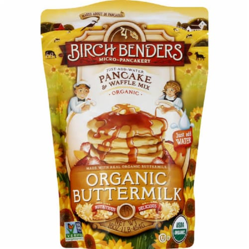 Birch Bender Pancake & Waffle Mix Organic Buttermilk , 16oz (Pack of 6) Perspective: front
