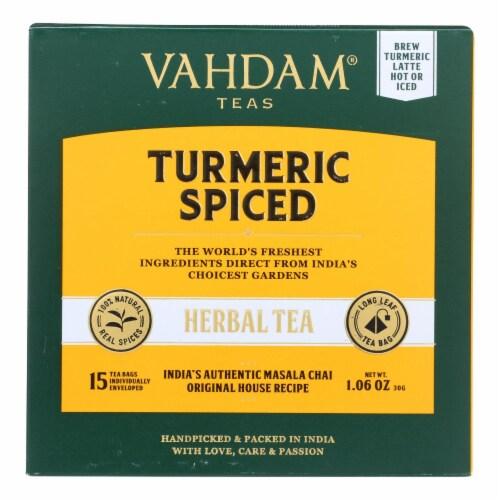 Vahdam Teas - Hrbl Tea Organic Turmeric Spice - Case of 6 - 15 BAG Perspective: front