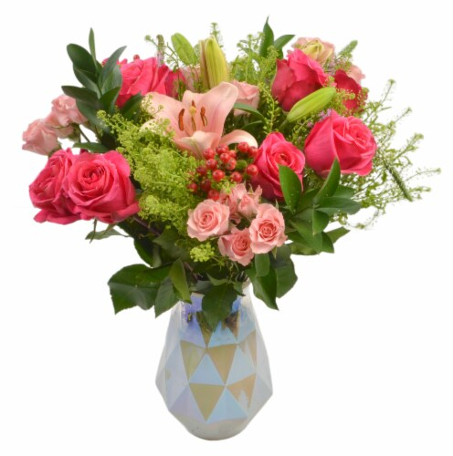 Deluxe Mixed Bouquet with Roses in Vase (Approximate Delivery is 1-3 Days) Perspective: front