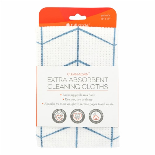 Full Circle Home - Clean Again Extra Absorbent Cleaning Cloths - Blue - Case of 6 - 2 Count Perspective: front