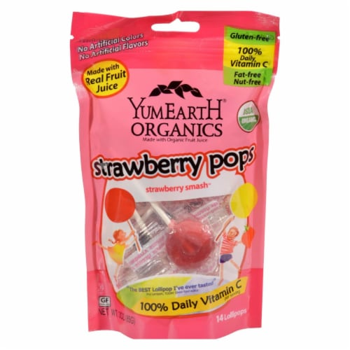 Yummy Earth Organic Standup Lollipops Strawberry Smash - 3 oz - Case of 6 Perspective: front