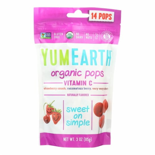 Yummy Earth Organic Vitamin C Pops - 3 oz - Case of 6 Perspective: front