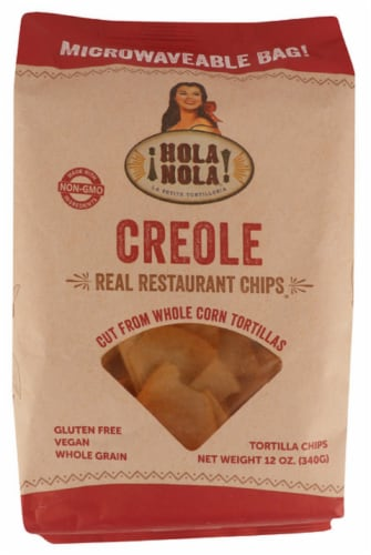 Hola Nola Creole Real Resturant Chips White Corn Tortillas Gluten Free 12oz (Pack of 9) Perspective: front