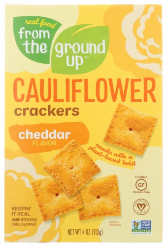 From The Ground Up Cheddar Flavor Cauliflower Crackers Perspective: front