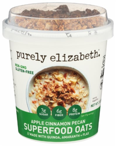 Simply Elizabeth Gluten Free Apple Cinnamon Pecan Superfood Oats Perspective: front