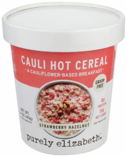 Purely Elizabeth Strawberry Hazelnut Cauli Hot Cereal Cup Perspective: front