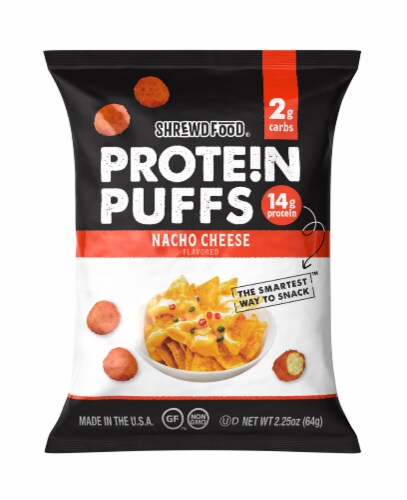 Shrewd Food Protein Puffs Nacho Cheese, 2.25 oz (Pack of 12) Perspective: front