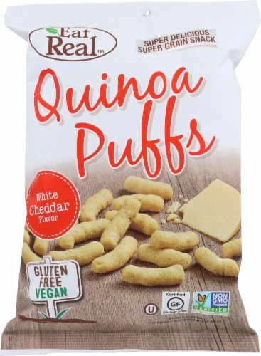 Eat Real Quinoa Puff White Cheddar Gluten Free Vegan 4oz (Pack of 12) Perspective: front
