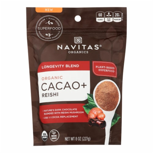 Navitas Organics - Cacao + Organic Lngvty Powder - Case of 6 - 8 OZ Perspective: front