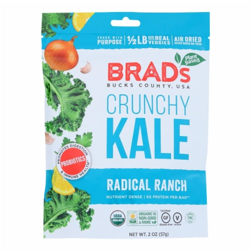 Brad's Plant Based - Crunchy Kale - Radical Ranch - Case of 12 - 2 oz. Perspective: front