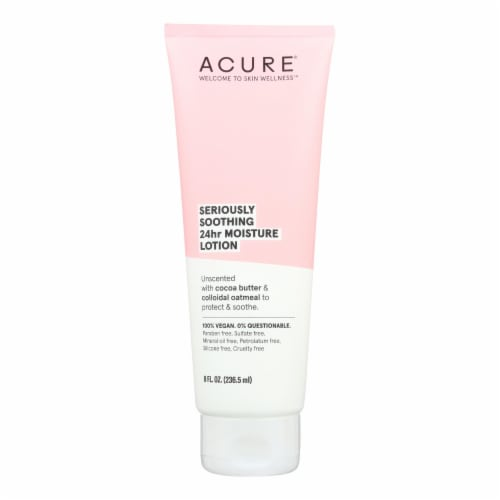 Acure - Lotion - Seriously Soothing 24 Hour Moisture - Unscented with Cocoa Butter - 8 fl oz. Perspective: front