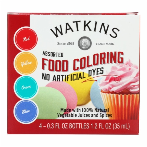 J.R. Watkins Food Coloring - Assorted - Case of 6 - 4 Count Perspective: front