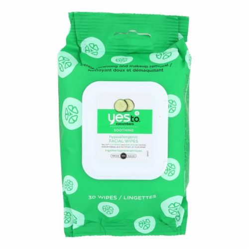 Yes to Cucumbers Facial Towelettes - Soothing - Hypoallergenic - 30 Count - Case of 3 Perspective: front