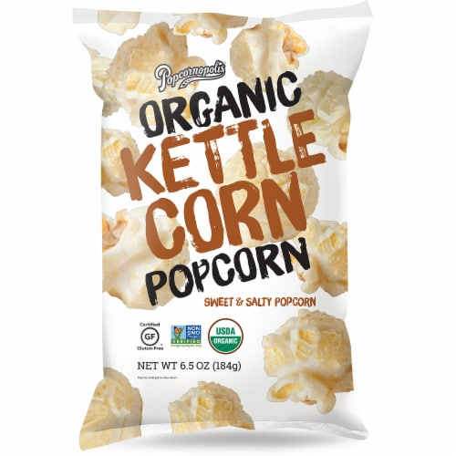 Popcornopolis Organic Kettle Corn Popcorn Sweet & Salty, 6.5oz (Pack of 6) Perspective: front