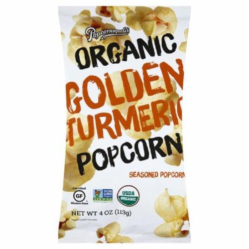 Popcornopolis Organic Golden Turmeric Popcorn, 4 oz (Pack of 6) Perspective: front