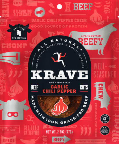 Krave Garlic Chili Pepper Beef Jerky Perspective: front
