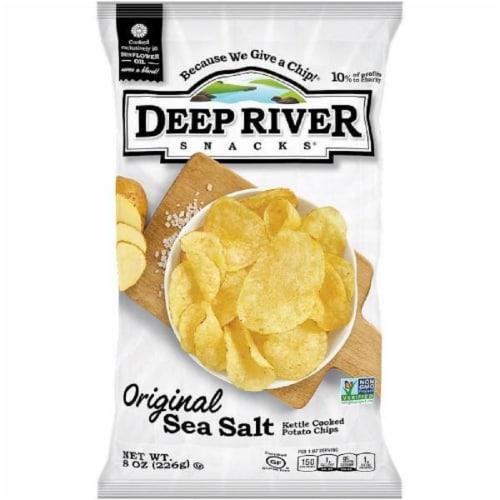 Deep River Snacks Orginal Sea Salt  kettle Cooked Potato Chips, 8oz (Pack of 12) Perspective: front