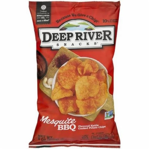 Deep River Snacks Mesquite BBQ  kettle Cooked Potato Chips, 8oz (Pack of 12) Perspective: front