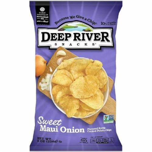 Deep River Snacks Sweet Maui Onion  kettle Cooked Potato Chips, 8oz (Pack of 12) Perspective: front