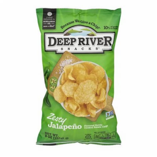 Deep River Snacks Zesty Jalapeno  kettle Cooked Potato Chips, 8oz (Pack of 12) Perspective: front