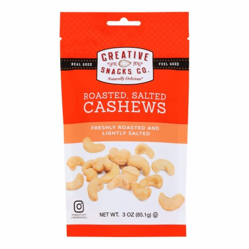 Our Creative Snacks Co. Freshly Roasted And Lightly Salted Cashews  - Case of 6 - 3 OZ Perspective: front