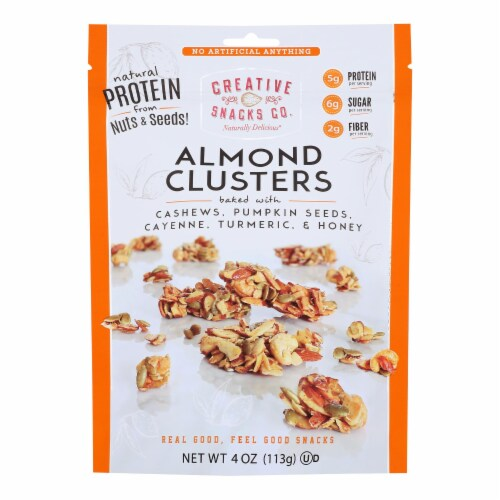 Creative Snacks - Almond Clusters - Cashew and Spice - Case of 12 - 4 oz Perspective: front