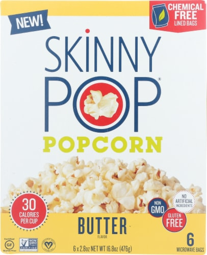 Skinny Pop Popcorn Butter Micro Bag, 16.8 oz (Pack of 6) Perspective: front